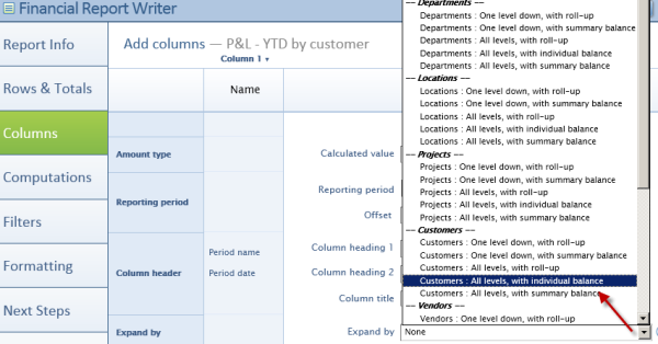 Intacct Dashboard: Change Expand by Definition