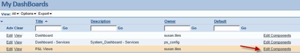Intacct Dashboard: Edit Components