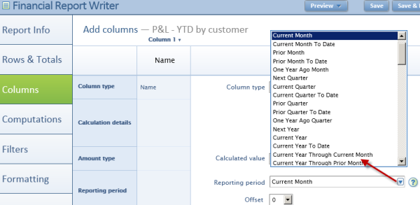 Intacct Dashboard: Change Reporting Period