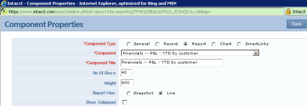 Intacct Dashboard: Keep Report Current