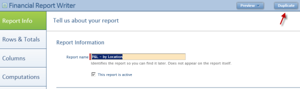 Intacct Dashboard: Renaming Existing Report