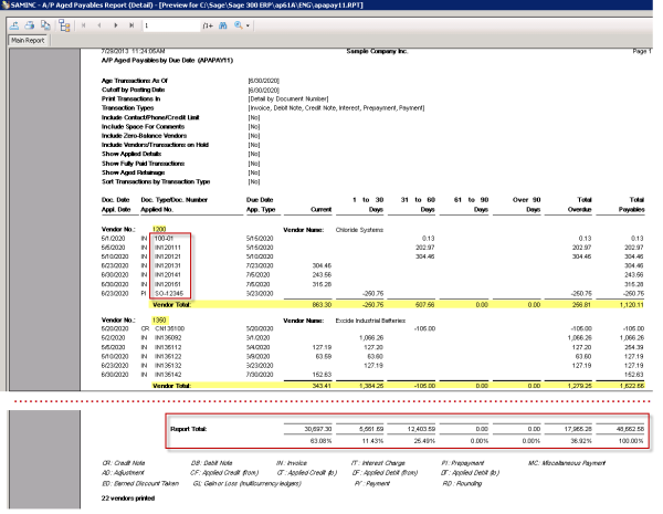 Sage 300 ERP A/P Aged Payables Detail Report