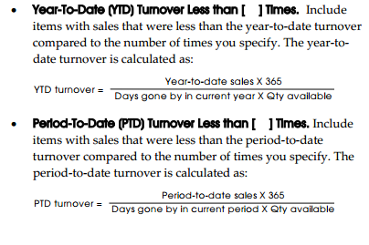 YTD and period-to-date turnover definitions
