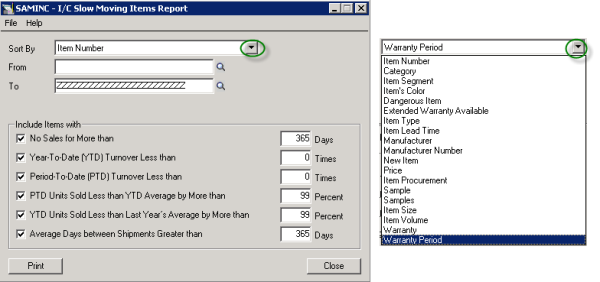 Sage 300 ERP: I/C Slow Moving Items Report