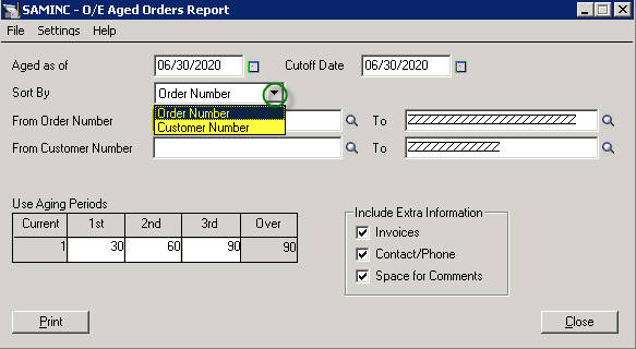 Sage 300 ERP OE Aged Orders Report