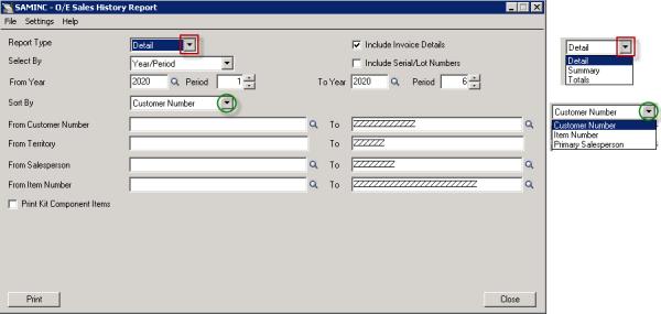 Sage 300 ERP: Sales History Report Input Screen