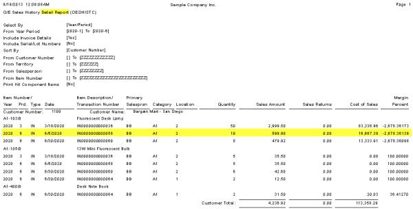 O/E Sales History Details Report