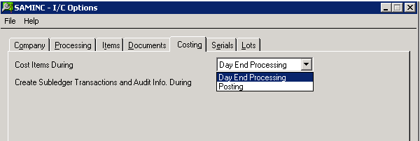 Sage 300 ERP: Day End Processing with each inventory transaction