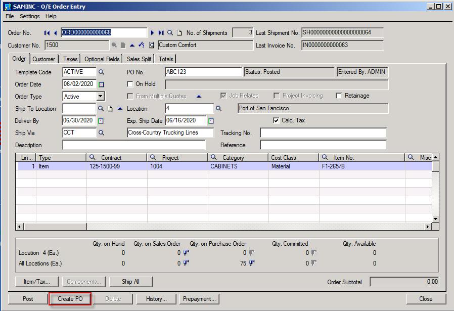 Sage 300 ERP Create PO