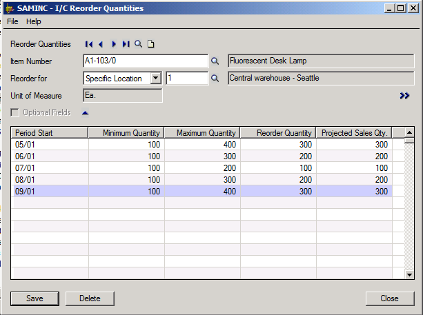 Sage 300 ERP Inventory Control Reorder Quantities