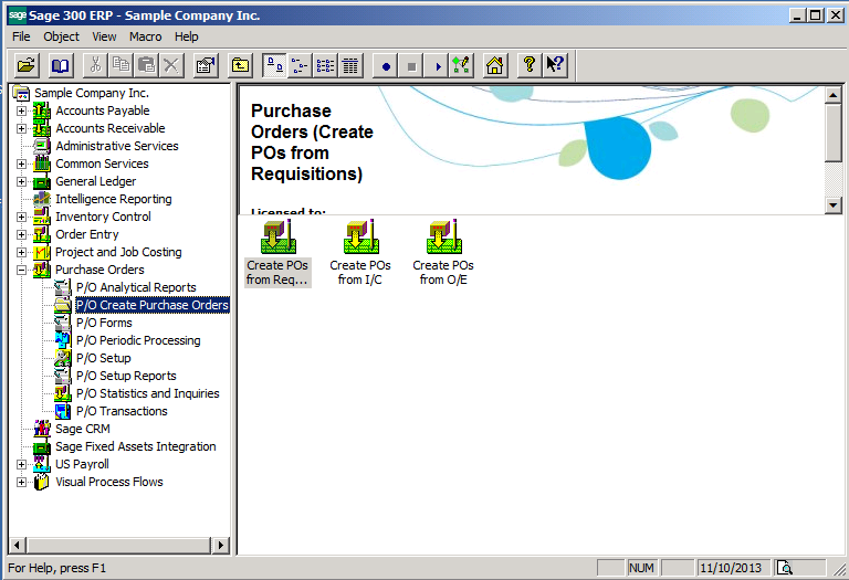 Sage 300 ERP Create PO Functions