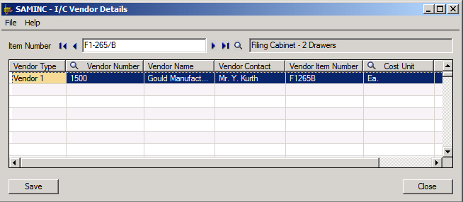 Sage 300 ERP Inventory Control Vendor Details