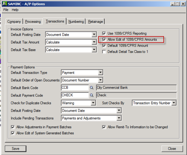 Allow Edit of 1099/CPRS Amts