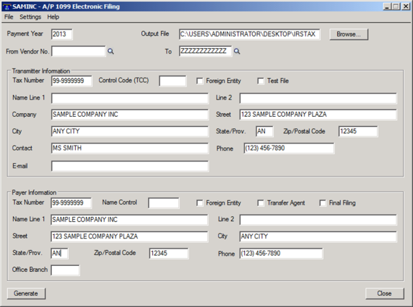 Sage 300 ERP A/P 1099 Electronic Filing