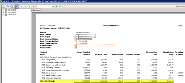 Sage 300 ERP Contract Summary - Crystal Reports