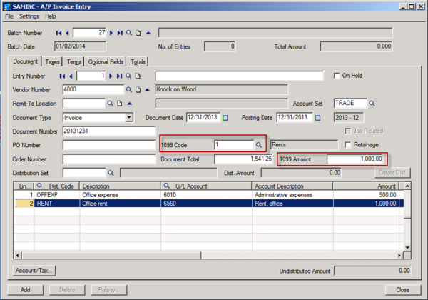 1099 Code on A/P Invoice Entry