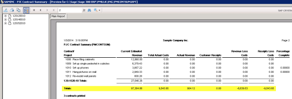 Sage 300 ERP Contract Summary Totals - Crystal Reports