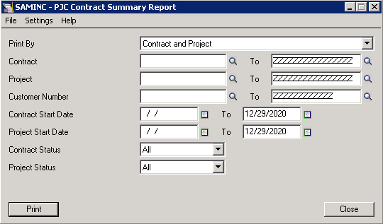 Sage 300 ERP Contract Summary Report