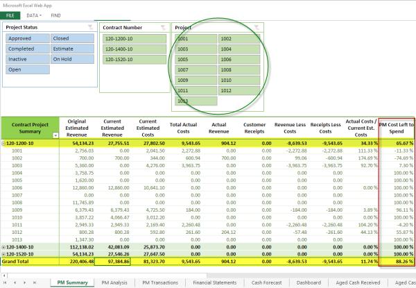 PowerPivot Project Analysis Report using Sage 300 ERP data