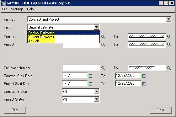 Sage 300 ERP: Detailed Costs Report