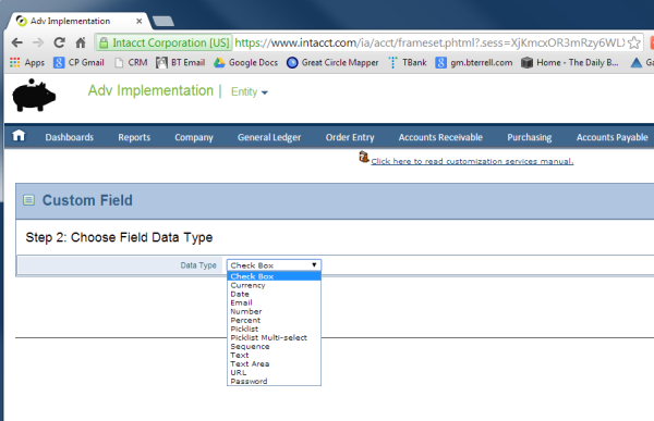 Intacct Custom Fields: Data Types