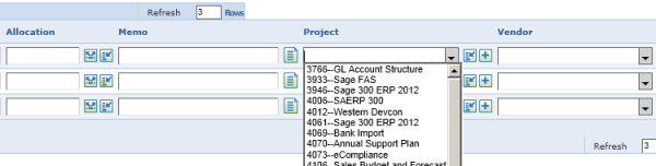 Screenshot of Dimensions Feature in Intacct